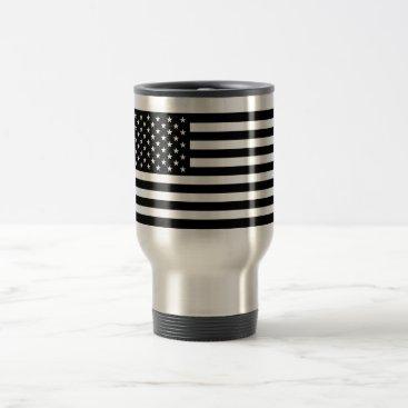 USA Themed USA Flag - Black and White Stencil Travel Mug