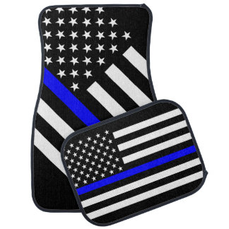 USA Flag Black and White Thin Blue Line Car Floor Mat