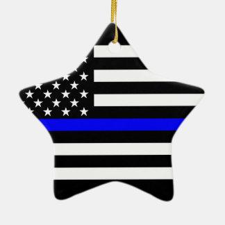 USA Flag Black and White Thin Blue Line Ceramic Ornament