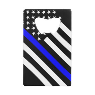 USA Flag Black and White Thin Blue Line Credit Card Bottle Opener