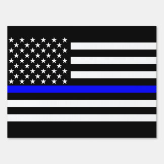 USA Flag Black and White Thin Blue Line Decor Lawn Sign
