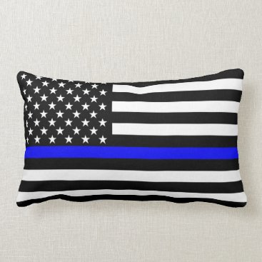 USA Themed USA Flag Black and White Thin Blue Line Decor Lumbar Pillow