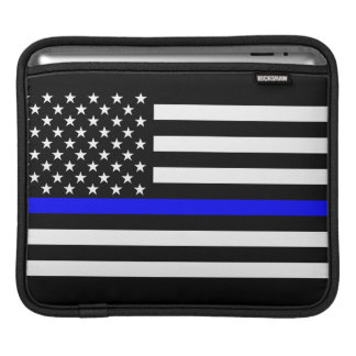 USA Flag Black and White Thin Blue Line Decor Sleeves For iPads