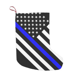 USA Flag Black and White Thin Blue Line Small Christmas Stocking