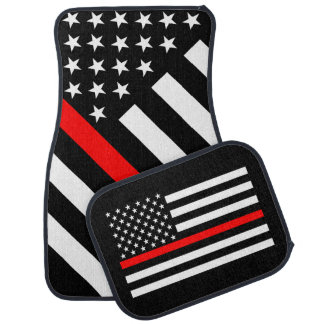 USA Flag Black and White Thin Red Line Car Mat