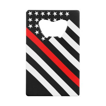 USA Themed USA Flag Black and White Thin Red Line Credit Card Bottle Opener