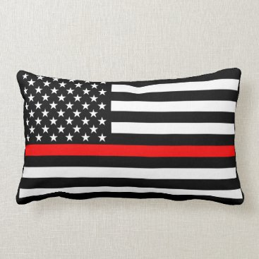 USA Themed USA Flag Black and White Thin Red Line Decor on a Lumbar Pillow
