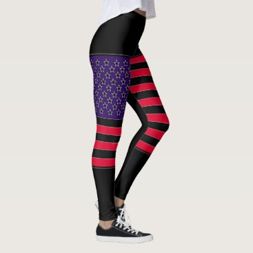 USA Themed USA Flag Black Red Blue Leggings