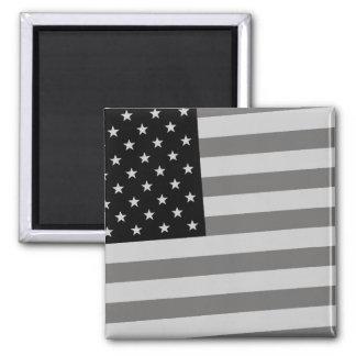USA Flag Black & White Fridge Magnet