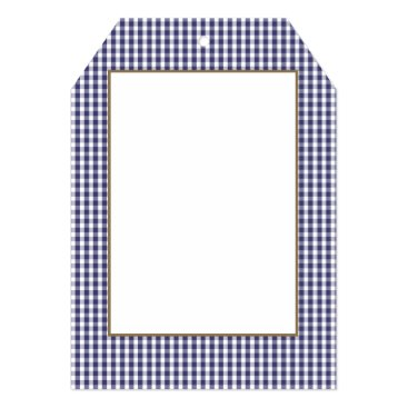 USA Themed USA Flag Blue and White Gingham Checked Card
