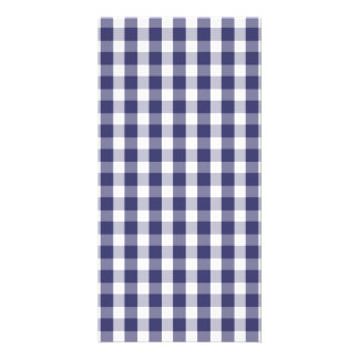 USA Flag Blue and White Gingham Checked Card