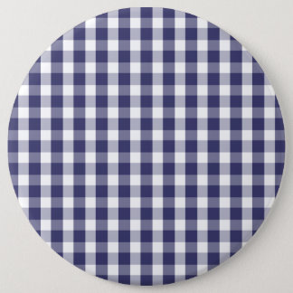 USA Flag Blue and White Gingham Checked Pinback Button