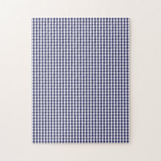 USA Flag Blue and White Gingham Checked Jigsaw Puzzles
