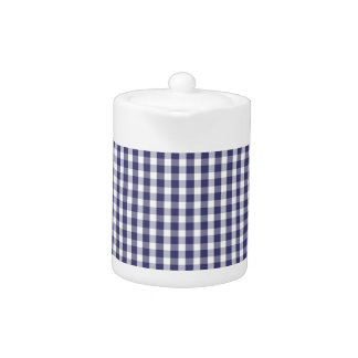 USA Flag Blue and White Gingham Checked Teapot