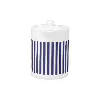 USA Flag Blue and White Stripes Teapot