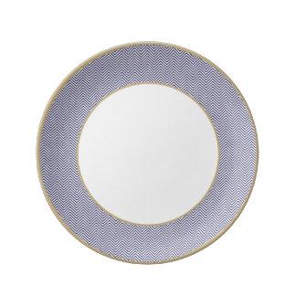 USA Flag Blue & White Wavy ZigZag Chevron Stripes Plate