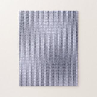 USA Flag Blue & White Wavy ZigZag Chevron Stripes Jigsaw Puzzles