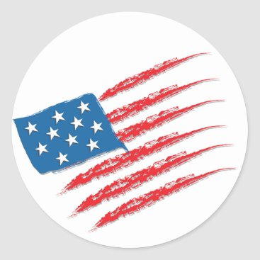 USA Themed USA Flag brush strokes Classic Round Sticker
