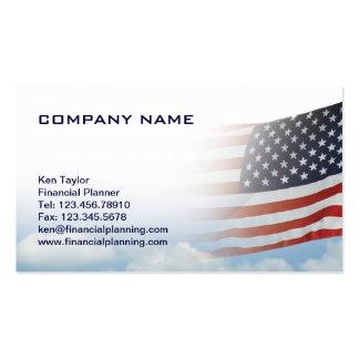 USA Flag Business Card Red White Blue w sky