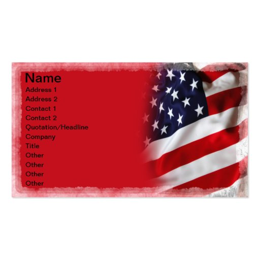 Usa flag double sided standard business cards pack of 100 for Patriotic business card template
