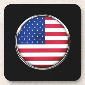 USA Flag Button Cork Coaster Set