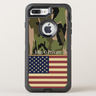 USA Flag Camo Name Template OtterBox Defender iPhone 7 Plus Case