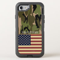 USA Flag Camo Name Template OtterBox Defender iPhone 8/7 Case