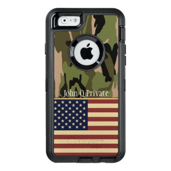 Usa Flag Camo Name Template Otterbox Defender Iphone Case by JerryLambert at Zazzle