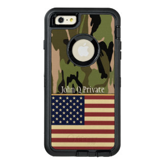 USA Flag Camo Name Template OtterBox Defender iPhone Case