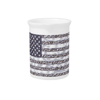 USA Flag Chrome Drink Pitcher