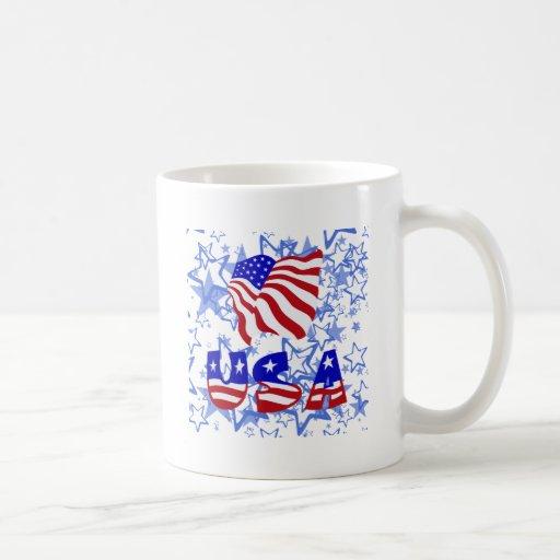 USA & FLAG CLASSIC WHITE COFFEE MUG