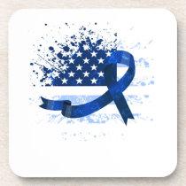 USA Flag Colon Cancer Suppor Beverage Coaster