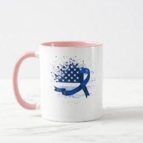 USA Flag Colon Cancer Suppor Mug