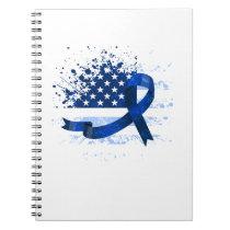 USA Flag Colon Cancer Suppor Notebook