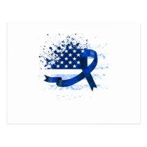 USA Flag Colon Cancer Suppor Postcard