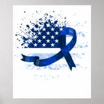 USA Flag Colon Cancer Suppor Poster