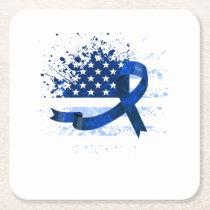 USA Flag Colon Cancer Suppor Square Paper Coaster