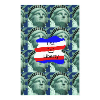 USA Flag Colors With Statue Of Liberty Stationery