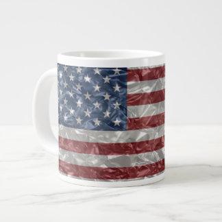 USA Flag - Crinkled 20 Oz Large Ceramic Coffee Mug