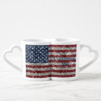 USA Flag - Crinkled Couples' Coffee Mug Set