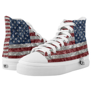 USA Flag - Crinkled High-Top Sneakers