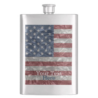 USA Flag - Crinkled Hip Flask