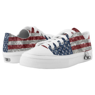 USA Flag - Crinkled Low-Top Sneakers