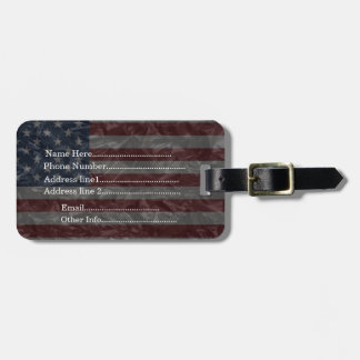 USA Flag - Crinkled Luggage Tag