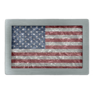 USA Flag - Crinkled Rectangular Belt Buckle