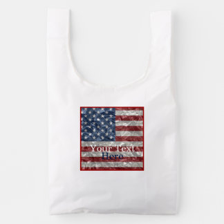 USA Flag - Crinkled Reusable Bag