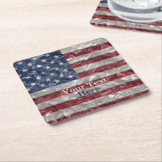 USA Flag - Crinkled Square Paper Coaster