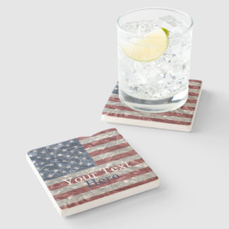 USA Flag - Crinkled Stone Coaster