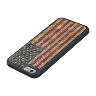 USA Flag - Crinkled Carved® Maple iPhone 6 Bumper