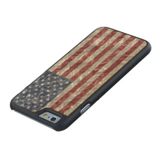 USA Flag - Crinkled Carved® Maple iPhone 6 Slim Case